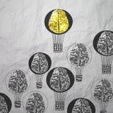 Handen drog luftballonger med 3d belägger med metall hjärnan Arkivfoto