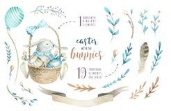 Handen drog lyckliga easter för vattenfärgen uppsättningen med kaniner planlägger Rabb vektor illustrationer