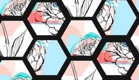 Handen drog modellen för collage för former för sexhörningen för vektorabstrakt begrepp konstnärliga texturerade sömlösa med diag vektor illustrationer
