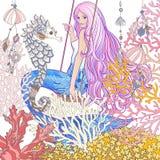 Handen drog sjöjungfrun med långt rosa hår i den undervattens- världen Royaltyfri Bild