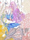 Handen drog sjöjungfrun med långt rosa hår i den undervattens- världen Arkivbild