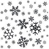 Handen drog snöflingajulprydnader som göras från dekorativ snöflingavektor, skissar illustrationjulbakgrund med gre Royaltyfria Foton