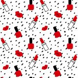 Handen drog svarta konfettier på enkel abstrakt sömlös vektor för vit bakgrund mönstrar illustrationen med röda kanter, läppstift Arkivbilder
