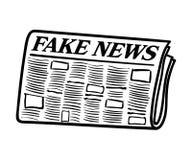 Handen drog tidningen med fejkar nyheternarubriken Royaltyfria Foton