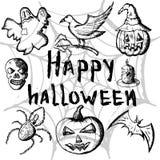 Handen drog uppsättningen av halloween attribut, svart skissar och märka lyckliga halloween stock illustrationer