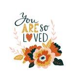 Handen drog valentinkortet med blommor och bokstäver - ` är du så älskad `, Design för blom- tryck för vektor Arkivbilder