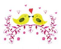 Handen drog vattenfärgen av två gula fåglar med hör och blommar royaltyfri illustrationer