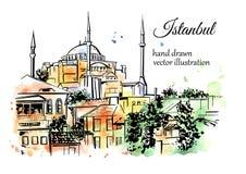 Handen drog vattenfärgen skissar av Istanbul Royaltyfri Fotografi