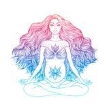 Handen drog vektorillustrationen av gravid kvinnasammanträde i lotusblomma poserar yoga Arkivfoto