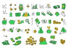 Handen drog vektorillustrationpengar myntar räkningbeståndsdelar Vektor för färg för materiel för finansbetalningbanker kontant Royaltyfria Bilder