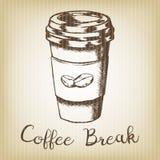 Handen drog vektorn skissar illustrationen - coffee shop eller kafét royaltyfri foto