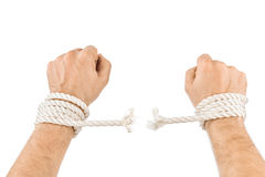 Handen en brekende kabel royalty-vrije stock afbeeldingen