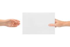 Handen en document royalty-vrije stock foto
