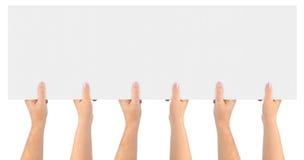 Handen en document banner Royalty-vrije Stock Fotografie