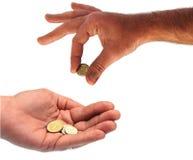 Handen en geld Stock Foto's