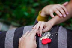 Handen en hart gevormd suikergoed Stock Foto