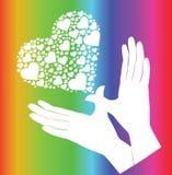 Handen en hartvector die vliegen Stock Fotografie