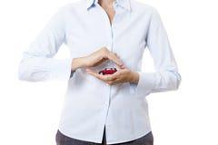 Handen en miniatuurauto Royalty-vrije Stock Afbeelding