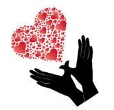 Handen en rode hartvector die vliegen Royalty-vrije Stock Afbeelding