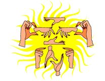 Handen en Spijkers Stock Afbeelding