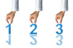 Handen en tekens 1 2 3 Royalty-vrije Stock Afbeeldingen