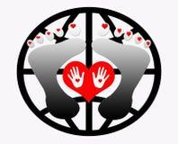 Handen en van het Hart Voeten van het Embleem van het Concept Stock Foto