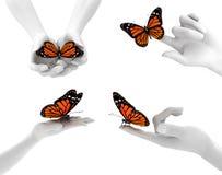 Handen en vlinders Stock Afbeelding