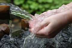 Handen en zoet water Stock Foto