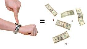 Handen erop wijzen die dat de tijd geld is Stock Foto