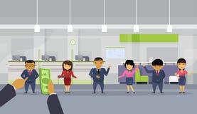 Handen för Bosaffärsmannen ger pengar till den Team Of Asian Businesspeople Pay lönen till anställdarbetargruppen royaltyfri illustrationer