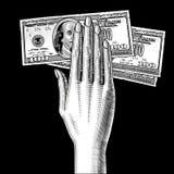Handen för kvinna` s gömma i handflatan ner med 100 dollar sedlar på svart vektor illustrationer