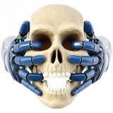 Handen för robot` s håller en mänsklig skalle stock illustrationer
