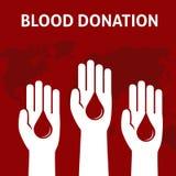 Handen för tre personer ger blodet för donation, begrepp för bloddonation Royaltyfri Fotografi