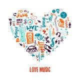 Handen för vektorn för förälskelsemusik klottrar den drog färgrika i form av hjärta Kan användas för tryckbar konsertbefordran Royaltyfri Bild