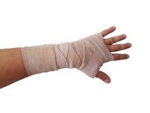 handen förbinder den isolerade assistentmannen Fotografering för Bildbyråer