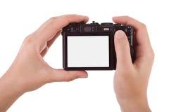 Handen fotografisch met een digitale camera royalty-vrije stock fotografie