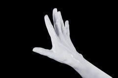 Handen gömma i handflatan geststopptecknet diagram som 3D isoleras på svart Royaltyfri Bild