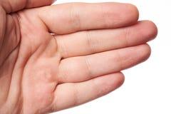 Handen gömma i handflatan med blåsan royaltyfria bilder