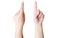 handen gör ett tecken Arkivbilder