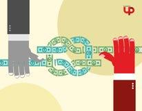 Handen getrokken geld knoop Cash flow Bedrijfs illustratie vector illustratie