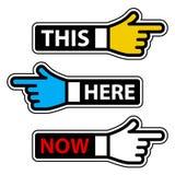 handen här märker nu pekaren Fotografering för Bildbyråer