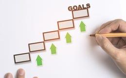 Handen het Trekken voert naar doel op die zich omhoog voor bedrijfsconcept bewegen royalty-vrije stock afbeelding