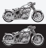Handen Inked motorcykeln Arkivbild