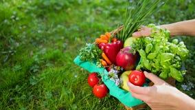 Handen korrigerar grönsaker och frukt i träkorg från den beigea torkduken Prores ultrarapid, 4k lager videofilmer