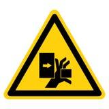 Handen krossar styrka fr?n det v?nstra symboltecknet, vektorillustrationen, isolat p? den vita bakgrundsetiketten EPS10 stock illustrationer