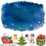 Handen målade blå mörk vattenfärgbakgrund med beståndsdelar för glad jul och lyckligt nytt år Arkivfoton
