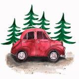 Handen målade den röda bilen för tappning och julträd Vattenfärg dåligt vektor illustrationer