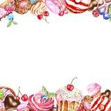 Handen m?lade den fyrkantiga ramen f?r smakliga efterr?tter f?r kortdesignen, f?delsedag Munk macaron, kakor, muffin, godisar p?  stock illustrationer