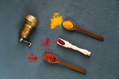 Handen maler och träskedar med kryddor på en mörk bakgrund Begreppet av vegetarisk mat som är sunt bantar, valet av ren mat royaltyfri bild