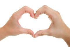 Handen, mannen en vrouwen met hart-vormig. Stock Foto's
